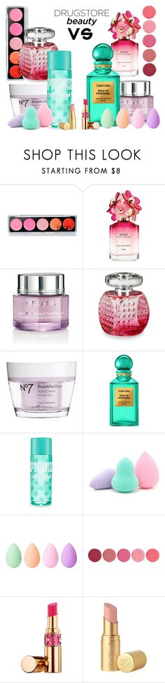 """""""Beauty on a budget"""" by beanpod ❤ liked on Polyvore featuring beauty, Marc Jacobs, Orlane, Jimmy Choo, Boots No7, Tom Ford, Forever 21, beautyblender, Kjaer Weis and Yves Saint Laurent"""