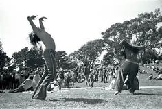 hippies dancing at Woodstock, 1969