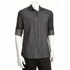 Marc Anthony Slim-Fit Turnback-Pocket Roll-Tab Casual Button-Down Shirt - Men #Kohls