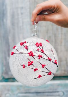 Frosted holly ornament adds a breath of whimsy to the Woodland Ornament Set from Balsam Hill. Via /followcharlotte/