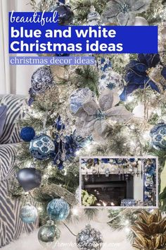 These blue and white indoor Christmas decorating ideas are so elegant! The Christmas tree decorations look gorgeous in the living room and the table setting is beautiful. #fromhousetohome #christmas #christmasdecor #blueandwhite #christmasdecoratingideas #bluechristmasdecor Blue Christmas Decor, Christmas Decorations For The Home, Farmhouse Christmas Decor, White Christmas, Christmas Home, Tree Decorations, Christmas Fireplace Mantels, Fireplace Mantle, Party