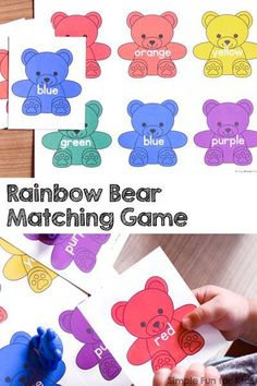 Everything rainbow bears gets my toddler's attention immediately. He LOVED this super simple Rainbow Bear Matching Game I made from a color sorting printable I offer. Great for working on colors and color words in tot school! Matching Games For Toddlers, Color Activities For Toddlers, Colors For Toddlers, Preschool Colors, Toddler Activities, Preschool Activities, Activities For Kids, Color Sorting For Toddlers, Learning Colors