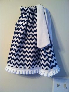 Navy and white Chevron pillow case dress with white Ruffle Bottom. $15.00, via Etsy.  Flower girl... Chevron Pillow, Girls Dresses, Flower Girl Dresses, Sewing Ideas, Navy And White, Pillow Cases, Wedding Day, River, Patterns