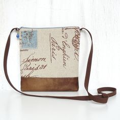 Crossbody Bag, Small Hip Purse, Sling Purse - Postale Print in Brown, Beige and Denim Blue on Etsy, $20.00