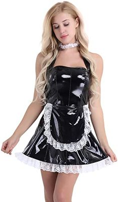 Honour Womens Mini Dress with Cleavage Keyhole and Mandarin Collar in PVC