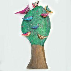 czereśniowe drzewo z ptakami w pracownia na deskach na DaWanda.com