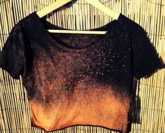 Crop and splatter bleach on an old t-shirt, Add this to my do-it-yourself shirt collection!