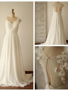 Chiffon Wedding Dress with Back Keyhole 3-D Flowers Details pwd0004