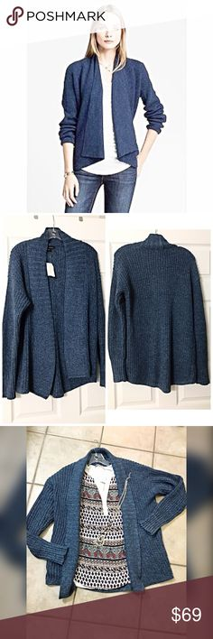 NWT Banana Republic blue open cardigan 😊 In Denim Blue- Banana Republic Draped open placket. Long sleeves. High low shirttail hem. Hits at the hip in front. Hits below the hip in back. Banana Republic Sweaters Cardigans