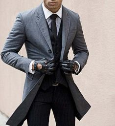 Suit and biker gloves