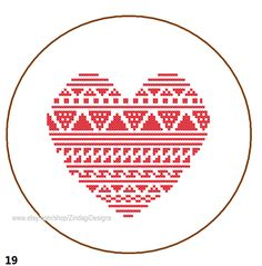 Instant Download Free Cross Stitch Pattern Heart cute abstract ...