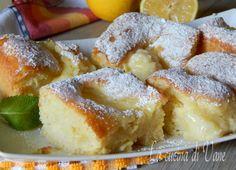 quadrotti cremosi al limone - Creamy Lemon Squares (use butter instead of oil? Mini Desserts, Italian Desserts, Lemon Desserts, Italian Recipes, Torta Angel, Nutella, Baking Recipes, Snack Recipes, Italian Cream Cakes