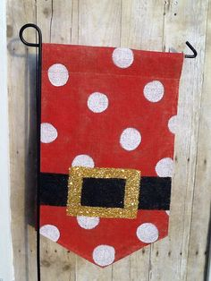 Santa Clause Belly Burlap Garden Flag by Burlapulous on Etsy, $20.00....OR we can do that!