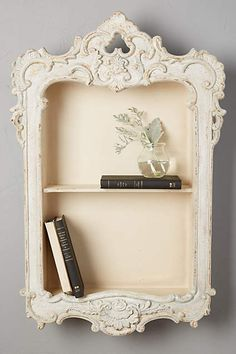 Little Library Shelf, Home Accessories, Expensive at Anthropologie - love it. I think I could do this with a shelf, an old picture frame, and some chalk paint. My New Room, My Room, Library Shelves, Small Bookshelf, Bookshelves, Anthropologie Home, Little Library, Living At Home, Home Gifts