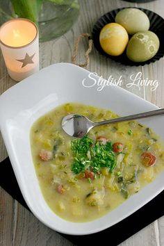 Lauch-Kartoffel-Suppe mit Schinkenkrakauer