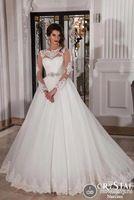 Gernours vestido de noiva de manga comprida sheer malha voltar princesa vestido de noiva 2015 lace applique sexy vestido noiva EV0318