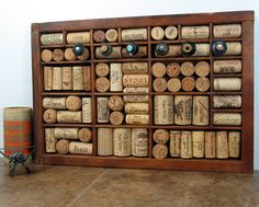 Wine Cork Bulletin Board made from Vintage Printer Drawer $65