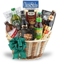 The Beer Gift Basket. The perfect gift for the beer lover! This fantastic basket features beers from around the world, plus an appetizing selection of gourmet treats. Inside a two-tone basket the recipient will discover Bass Ale, Heineken, Guinness Extra Stout, Murphy's Irish Amber, and Dos Equis. The gift is made complete by the addition of East Shore Pretzels, Macy's Romano Garlic Cheesesticks, Crunchie Munchie Snack Mix, Crown Jewel Popcorn, and Pacific Gold Pistachios. Select…