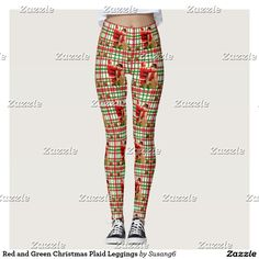 Red and Green Christmas Plaid Leggings