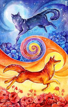 Sun Fox, Moon Cat by TrollGirl.deviantart.com on @deviantART