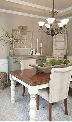 Farmhouse Dining Room Decor Ideas - How do you style a dining table? 2 Farmhouse Dining Room Decor Ideas - What is a good color for a dining room? 2 Farmhouse Dining Room Decor Ideas - How do I make my dining room cozy? Dining Room Decor Elegant, Dining Room Lighting, Dining Decor, Farmhouse Dining Room Table, Farmhouse Style Kitchen, Rustic Farmhouse, Farmhouse Ideas, Farmhouse Small, Kitchen Rustic