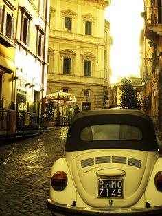 Vintage Rome in Yellow, Old Volkswagen Beetle, Italy