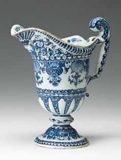 "Rouen - French Faience Ewer. Grand Feu (High Fired) Earthenware with Tin Blue & White Glaze and Enamel. Rouen, France.  Circa 1700. 11"" x 11"" (27.94cm x 27.94cm)."