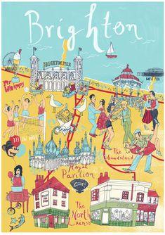 Illustrated Map of Brighton Print by SiaTzavalas on Etsy