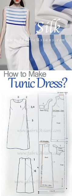 Simple summer dress sewing pattern. How to sew tunic dress? by gloriaU