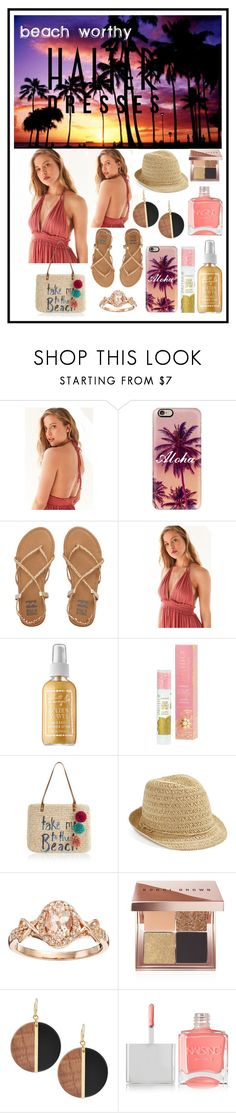 """Beach Worthy Halter Dresses"" by inquisitivekitten ❤ liked on Polyvore featuring Ecote, Casetify, Billabong, Captain Blankenship, Pacifica, Accessorize, Caslon, Bobbi Brown Cosmetics, Michael Kors and Nails Inc."