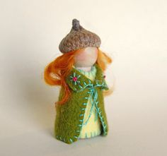 Red Haired Gnome Girl Waldorf Gnome Green Gnome от gingerlittle, $17.00