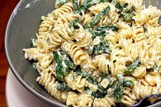 asparagus goat cheese pasta by smitten, via Flickr
