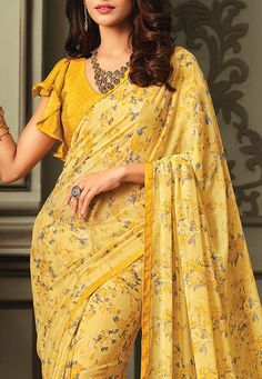 Printed Georgette Saree in Yellow Blouse Neck Designs, Bridal Blouse Designs, Blouse Styles, Designer Blouse Patterns, Saree Blouse Patterns, Sewing Blouses, Cotton Blouses, Shiffon Saree, Blouse Models