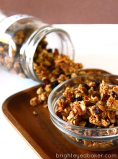 This granola looks healthier than most. It uses egg white to stick it together to cut down on the oil. Also has pecans, almonds, and raisins, and clumps together which I like.