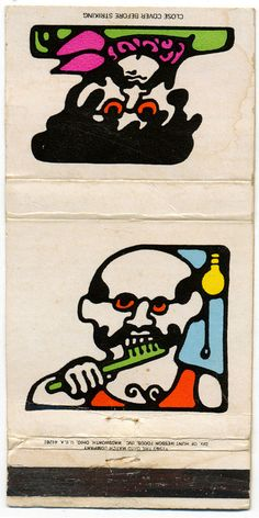 "Matchbook cover from The Ohio Match Company's 1969 ""Designer Series."" These graphics were obviously inspired by Pop Artist Peter Max."