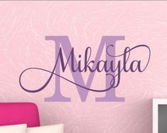 Girls Bedroom Name Decal Girls Name Personalized By Vgwalldecals - Monogram wall decal for nursery