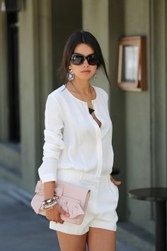 1f2540c41b90 all white summer look White Shorts