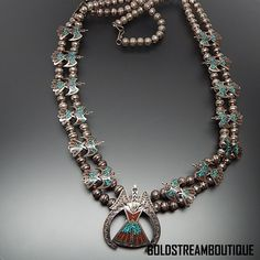 CHARLIE SINGER NAVAJO 925 SILVER TURQUOISE CORAL CHIP INLAY PEYOTE BIRD NECKLACE