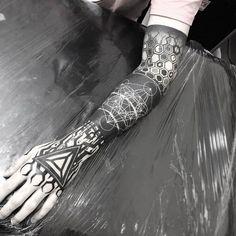 Blackwork geometric sleeve by Gabriel Chapel