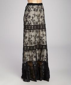Loving this Black & Beige Lace Maxi Skirt on #zulily! #zulilyfinds