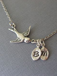 Personalized Mothers Day Necklace Silver Bird by DevinMichaels, $23.50