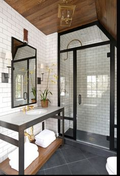 Framed-shower-doors-Summer-Thornton.jpg - Photo © Summer Thornton via Houzz.com