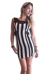 Vertical Striped Bodycon Dress with Sheer Accents! Black & White.