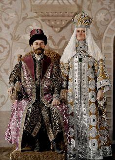 Nicholas II with his wife Alexandra Feodorovna as Tsar Alexei Mikhailovich & his wife, 1903 costume ball.