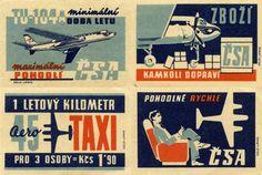 Czech Airlines ad, matchbox labes