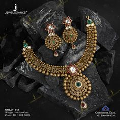 Jadtar Necklace Set jewellery for Women by jewelegance. ✔ Certified Hallmark Premium Gold Jewellery At Best Price Antique Jewellery Designs, Gold Earrings Designs, Gold Jewellery Design, Necklace Designs, Antique Jewelry, Gold Jewelry, Antique Necklace, Bridal Jewelry, Jewelery