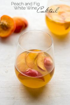 White Wine Cocktail with Peaches and Honey Fig Syrup - SO EASY and perfect for Summer drinking! #Brunchweek #Glutenfree #Cocktail @Bonné de Blas Maman Preserves  - Food Faith Fitness