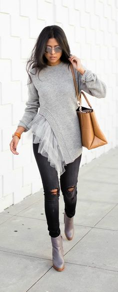 Faux Tulle Frill Sweater, Ripped Denim, Grey Heeled Boots