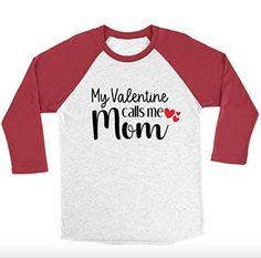 My Valentine Calls Me Mom 3/4 Sleeve Unisex Raglan - Mom Shirts