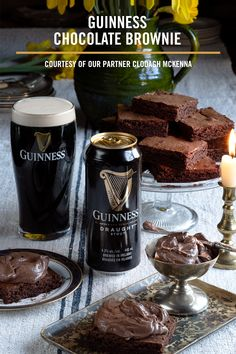 Makes Guinness Chocolate Brownies. Check out Chef Clodagh McKenna's recipe for these delicious treats. Just Desserts, Delicious Desserts, Dessert Recipes, Yummy Food, Tasty, Yummy Treats, Sweet Treats, Guinness Chocolate, Low Carb Dessert
